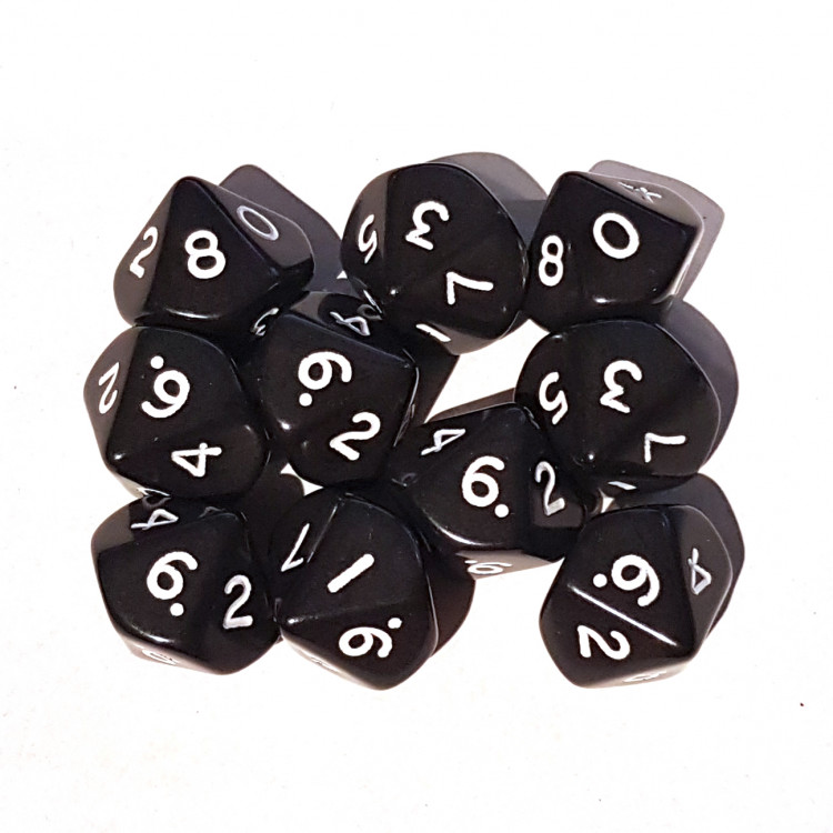 Set Of D10 Dice  (10 x 16mm D10) - Opaque Black