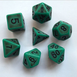 D20 Polyhedral 7 Piece Dice Set - Ancient Verdigris