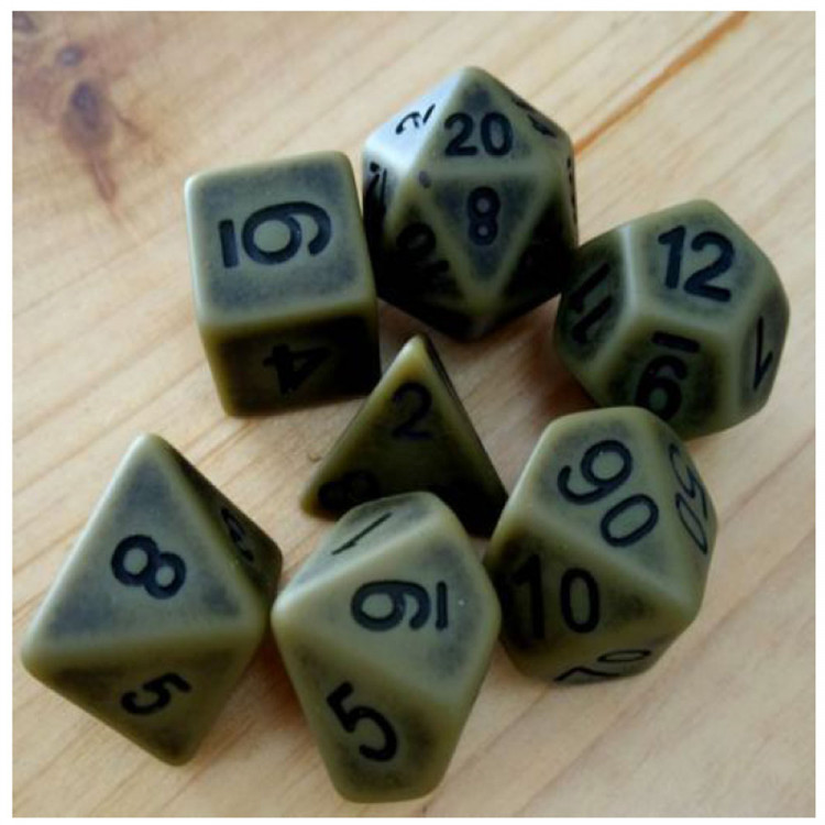 D20 Polyhedral 7 Piece Dice Set - Ancient Khaki