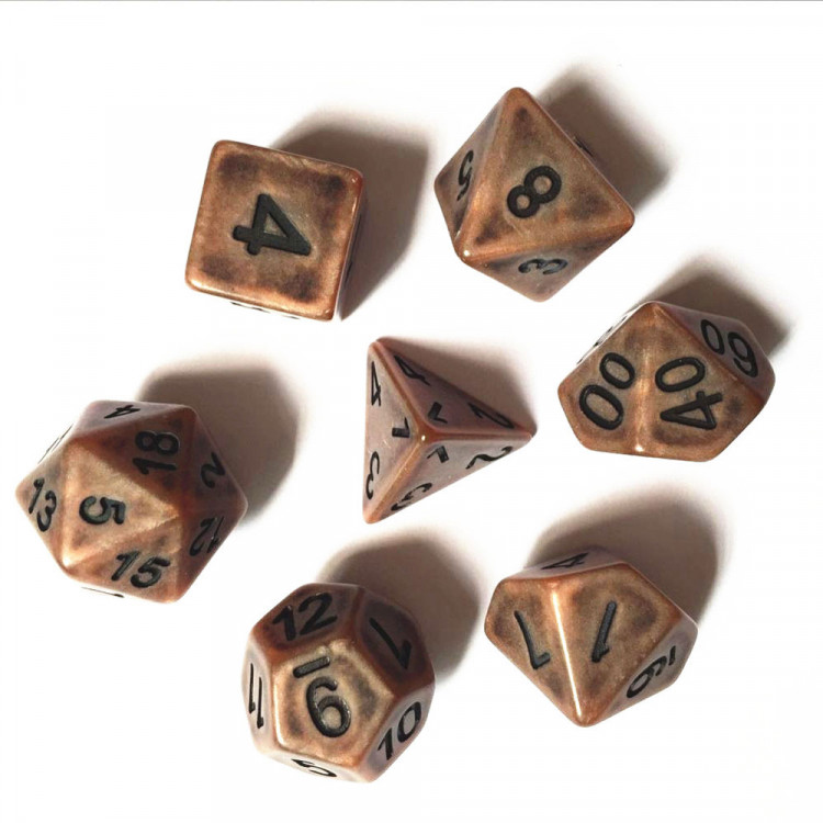 D20 Polyhedral 7 Piece Dice Set - Ancient Matt Copper