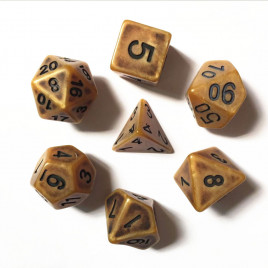 D20 Polyhedral 7 Piece Dice Set - Ancient Matt Gold