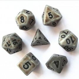 D20 Polyhedral 7 Piece Dice Set - Ancient Matt Steel