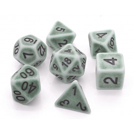 D20 Polyhedral 7 Piece Dice Set - Ancient Green