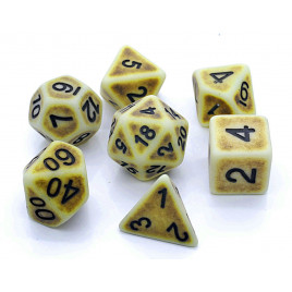 D20 Polyhedral 7 Piece Dice Set - Ancient Yellow