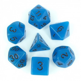 D20 Polyhedral 7 Piece Dice Set - Glow In The Dark - Blue
