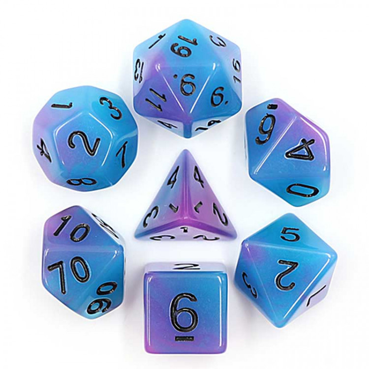D20 Polyhedral 7 Piece Dice Set - Glow In The Dark - Blue / Purple