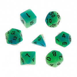 D20 Polyhedral 7 Piece Dice Set - Glow In The Dark - Green / Blue