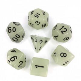 D20 Polyhedral 7 Piece Dice Set - Glow In The Dark - Grey