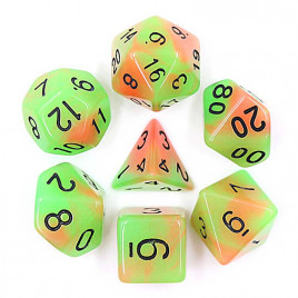 D20 Polyhedral 7 Piece Dice Set - Glow In The Dark - Orange / Green