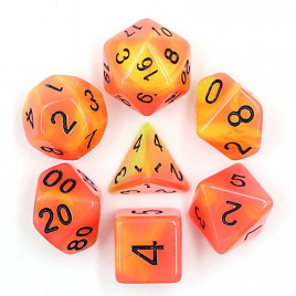D20 Polyhedral 7 Piece Dice Set - Glow In The Dark - Orange / Red