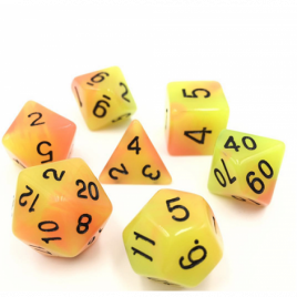 D20 Polyhedral 7 Piece Dice Set - Glow In The Dark - Yellow / Red