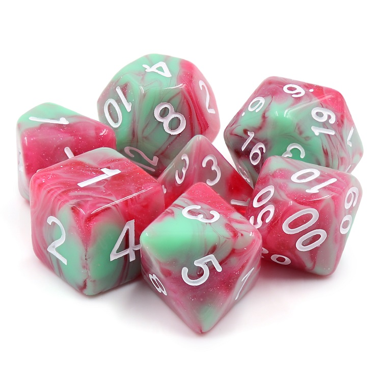 D20 Polyhedral 7 Piece Dice Set - Strawberry Creme