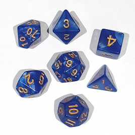 D20 Polyhedral 7 Piece Dice Set - Pearl Blue/Gold
