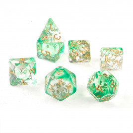 D20 Polyhedral 7 Piece Dice Set - Smoke Green