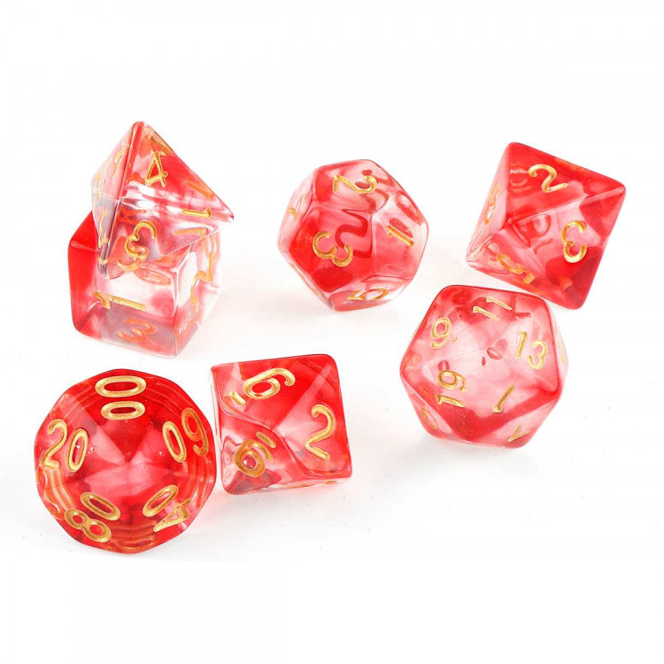 D20 Polyhedral 7 Piece Dice Set - Smoke Red