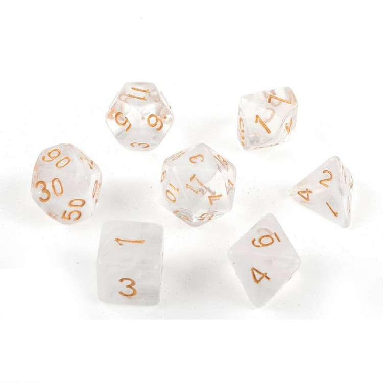D20 Polyhedral 7 Piece Dice Set - Smoke White