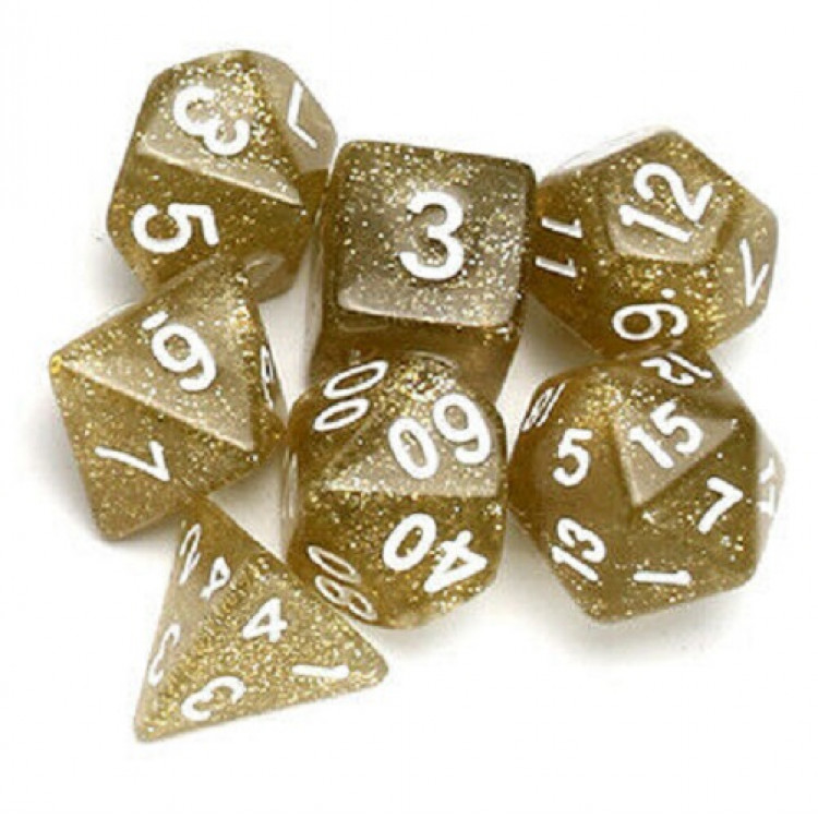 D20 Polyhedral 7 Piece Dice Set - Glitter Gold
