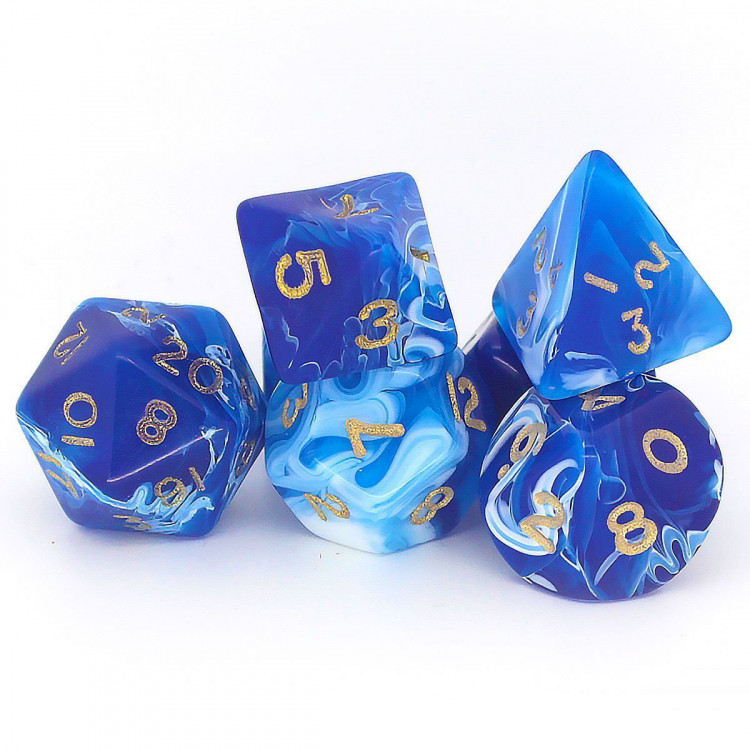 D20 Polyhedral 7 Piece Dice Set - Marble  Blue