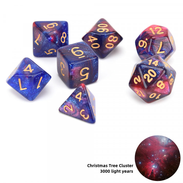 D20 Polyhedral 7 Piece Dice Set - Space Range - Christmas Tree Cluster
