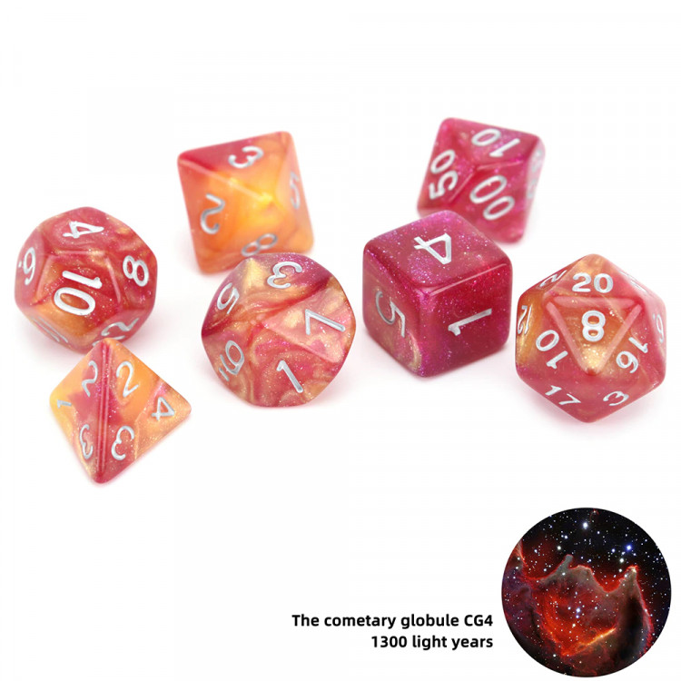 D20 Polyhedral 7 Piece Dice Set - Space Range - The Cometary Globule CG4