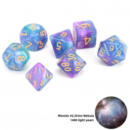 D20 Polyhedral 7 Piece Dice Set - Space Range - Messer 42, Orion Nebula