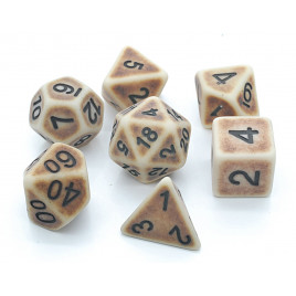 D20 Polyhedral 7 Piece Dice Set - Ancient Bone