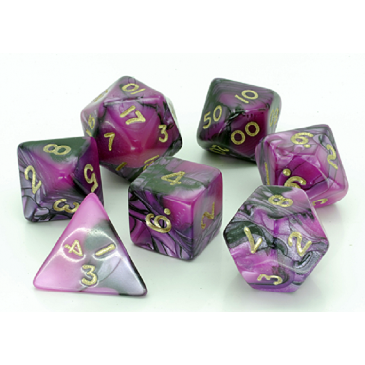 D20 Polyhedral 7 Piece Dice Set - Toxic Pink/Black
