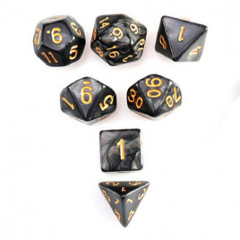 D20 Polyhedral 7 Piece Dice Set - Pearl Black/Gold